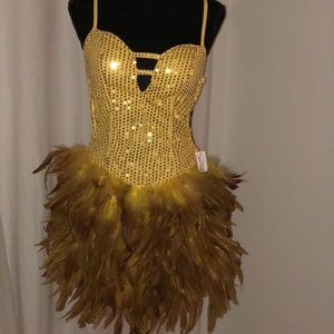 Dresses & Skirts - Be Wicked Sequence Feather Yellow Dress (S-M)